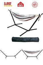 Double Hammock with Space Saving Steel Stand and Portable Carrying Carrying Cas