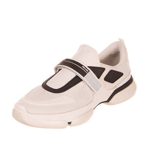 RRP €700 PRADA Knitted Sneakers EU44 UK10 US10.5 Contrast Leather Made in Italy