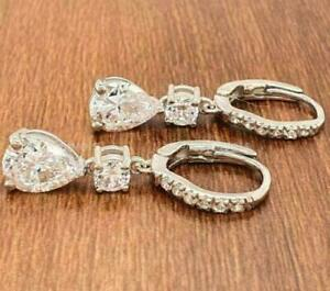 Engagement Huggie Hoop Drop Dangle Fancy Earrings 14K White Gold 3.05 Ct Diamond