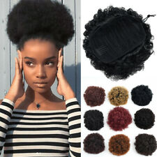 Afro Bun Ponytail Kinky Curly Puff Bun Clip in Bun Drawstring Hair Extensions