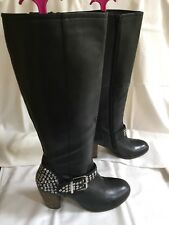 SEXY RARE DESIGNER MODA IN PELLE BLACK  LEATHER KNEE HIGH BOOTS UK 5 EUR 38
