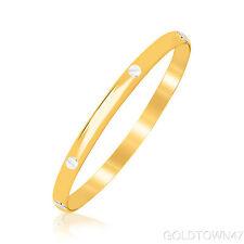 Baby Bangle 14kt Yellow Gold Polish Tube w/ White Nails Head Bracelet with Clasp