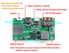 3.7V to 5V 9V 12V Lithium Li-ion 18650 Battery Boost Charging Board Type-C QC3.0