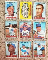 Lot of 9 1967 Topps Los Angeles Dodgers vintage baseball cards, Al Ferrara, Egan