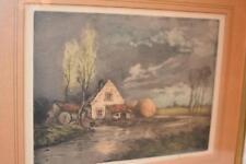 Signed Original Antique Ink Watercolor English Cottage PICTURE FRAME Sarachek's