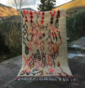 Azilal Rug moroccan handmade Berber Vintage 100% wool Carpet 6″x8″ feet