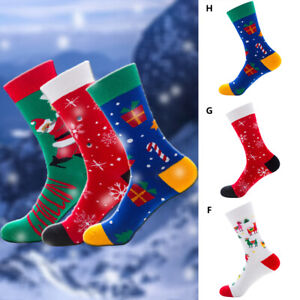 Mens Cotton Christmas Socks Santa Claus Tree Snow Elk Funny Gift Winter 1Pair
