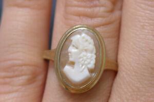 Goldring Ring 333 GOLD 8 Karat Granat Gelbgold Art Deco Gemme Cameo