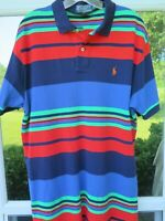 Ralph Lauren Men's Cotton Colorful Striped Pullover Polo Shirt Medium/Large EUC