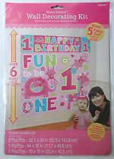 Baby Girl Happy Birthday/Fun to Be One Scene Backdrop Setter Wall Decorating Kit