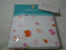 "New Tiddliwinks ""Sweet Safari"" Fitted Crib Sheet- Flower/Butterfly Pink Orange"