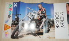 "Mickey Rourke on Harley Davidson 11x20"" Pin Up Poster Thailand Magazine Clipping"