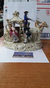 Vintage 1950'S HANDPAINTED PORCELAIN HORSE AND CARRIAGE OCCUPIED JAPAN