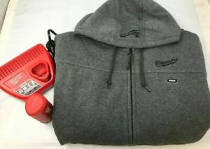 Milwaukee 302G-21L  Men's Large 12-V GRAY  Heated Hoodie Kit LN