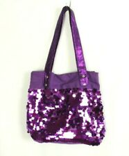 Purple Sequin Bling Canvas Tote Bag