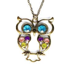 Owl Charm Pendant Multi Color Rhinestone Gold Tone Necklace with 80cm Chain