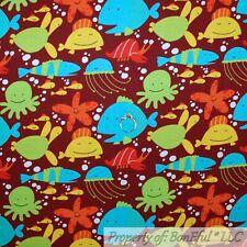 BonEful Fabric Cotton Quilt Brown Blue White Kid Whale Star Fish Turtle Ga Scrap