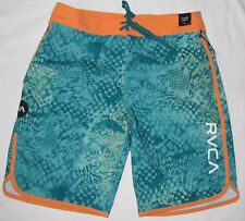 "New Mens RVCA Eastern Green Orange 20"" BoardShorts Board Swim Shorts Size 32"