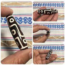 Dzi 9 Eyes Stone Tibetan Bead Amulet Pendant Talisman Luck Rich Wealth Protect