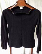 """CLAUDE MONTANA, PARIS, MADE IN ITALY"" blk l-s, semi-mock-turtleneck sweater top"