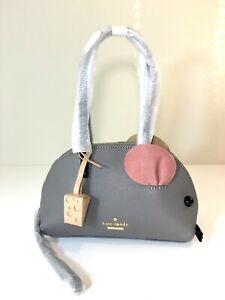 NWT Kate Spade Cat's Meow Mouse Handbag Saffiano Leather Gray Purse PXRU5779 Bag