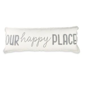 """Mud Pie E1 Cream Washed 37""""L Our Happy Place Long Zipper Closure Pillow 41600069"""