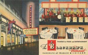 Blackhawk Restaurant Chicago Illinois roadside marquee Teich Postcard 21-497