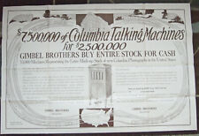 """1920'S COLUMBIA  PHONOGRAPH HUGE GIMBELS 38"""" X 25"""" ADVERTISING POSTER DBL SIDED!"""