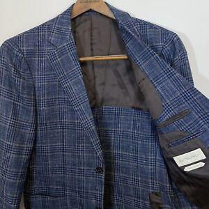 Suitsupply E Thomas Plaid Check Sportcoat 38 R Slim Blue Brown Half Lined Blazer