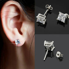 Fashion Womens Mens Ear Stud Unisex Solid White Gold Plated Square CZ Earrings