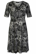 Viscose Cowl Neck Short Sleeve Plus Size Dresses for Women