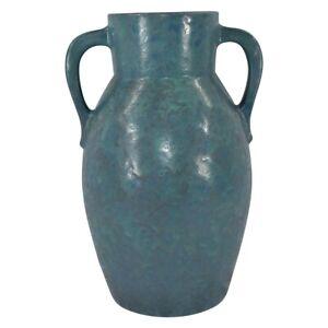 Roseville Pottery Carnelian II 1926 Mottled Blue And Green Handled Vase 444-12