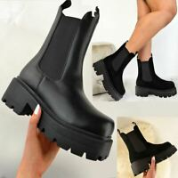 Womens Chunky Black Ankle Boots Thick Stomper Sole Grunge Statement Goth Shoes