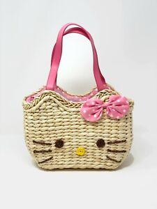 Handmade Straw Kitty Handbag Purse