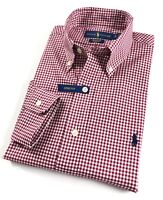 Ralph Lauren Shirt Men's Burgundy Gingham Check Standard Fit Cotton Stretch