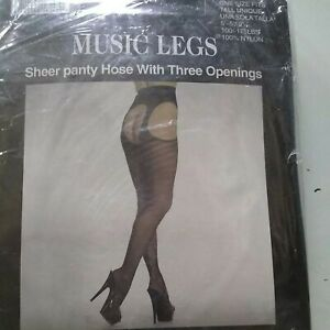 MUSIC LEGS ALL IN ONE BACKSEAM LACE TOP STOCKINGS  NYLONS ATTACHED GARTERBELT