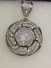 Yellow Gold 10kt Diamond Pendant Circle Shape 0.75 Ct