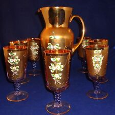 Vintage Bohemian Rose Colored Pitcher And 7 glasses   24K GOLD AND HAND PAINTED
