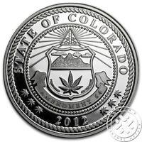 LEGALIZED CANNABIS MARIJUANA POT 1OZ .999 SILVER PROOF COIN WITH COA COLORADO