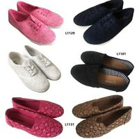 Fashion Womens Girls Canvas Plimsoll Shoes Sneakers lace Up Size 5-10