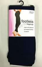 Brand New Ladies navy blue footless leggings soft opaques stretchy-AU STOCK