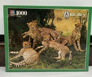 MB Big Ben 1000 Piece Jigsaw Puzzle Cheetah Family 20 x 26 New Sealed 1997