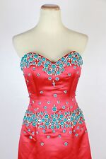 New Genuine Jovani 77587 Red/Turquoise Wedding Evening Gown Prom Women Dress 4
