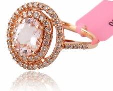 14K Rose Gold Oval 1.33ct Morganite & 0.51ct Diamond Ring Sz:7.25 Ret:$1,657 NWT