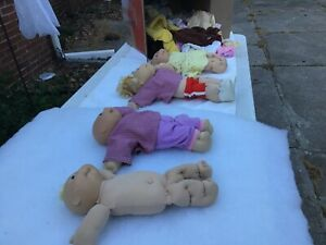 Vintage cabbage patch lot of 4 with huge box of clothes shoes lots of it