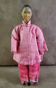 Rare Antique Chinese Wood Cloth Door of Hope Mission Woman Doll Mother