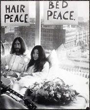 THE BEATLES POSTER PAGE . 1969 JOHN LENNON YOKO ONO AMSTERDAM HILTON BED-IN D35