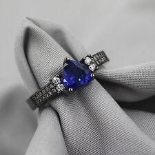 TOP Cut 18k Black Gold Filled Blue Crystal Wedding Ring Set Gift Rings Sz 8 QI2