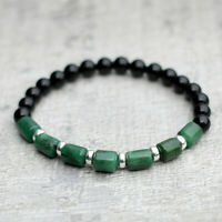 Green Jade Bracelet With Black Onyx & Sterling Silver Unisex Stretch Fit UK Made
