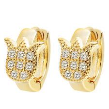 Luxury Zircon Earrings Charming Flower Hoop Earrings for Women Baby Girls